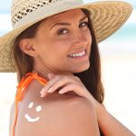Woman with Sunscreen and hat